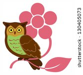 Owl with stylized flower. EPS 10