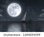 sailboat on the sea at night... | Shutterstock . vector #1304054599