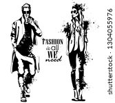 woman and man fashion models... | Shutterstock . vector #1304055976