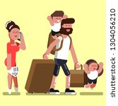 family with two kids at airport.... | Shutterstock . vector #1304056210