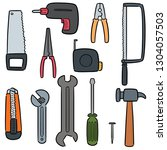 vector set of construction tools | Shutterstock .eps vector #1304057503