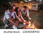 group of friends roasting...   Shutterstock . vector #1304058943