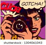 pop art comic book style...   Shutterstock .eps vector #1304061043