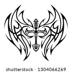 tattoo winged cross on a white... | Shutterstock .eps vector #1304066269
