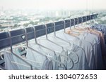 drying clothes on clothesline... | Shutterstock . vector #1304072653