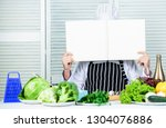 man chef in hat and apron read... | Shutterstock . vector #1304076886