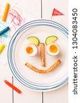 kid's breakfast   funny face...   Shutterstock . vector #1304083450