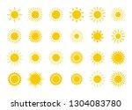 sun icon set. yellow sun star... | Shutterstock .eps vector #1304083780
