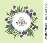 background with acai berries... | Shutterstock .eps vector #1304101279