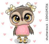 cute cartoon owl on a hearts...   Shutterstock .eps vector #1304109256