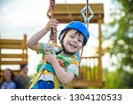 young boy playing and having... | Shutterstock . vector #1304120533