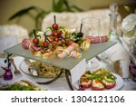 catering table set service with ... | Shutterstock . vector #1304121106