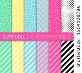 cute girly lol doll style... | Shutterstock .eps vector #1304128786