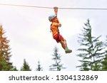happy kid with helmet and... | Shutterstock . vector #1304132869