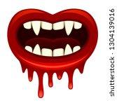 vampire mouth on a white... | Shutterstock .eps vector #1304139016