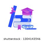 graduation and education stuff. ... | Shutterstock .eps vector #1304143546