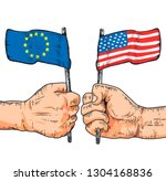 flags of usa and europe.... | Shutterstock . vector #1304168836