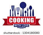 cooking with love vector design ...