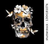 human skull  exotic tropical... | Shutterstock .eps vector #1304181076