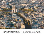arc de triomphe in paris aerial ... | Shutterstock . vector #1304182726