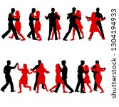 black set silhouettes dancing... | Shutterstock .eps vector #1304194933