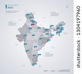 india vector map with... | Shutterstock .eps vector #1304197960