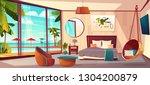 vector cartoon interior of cozy ... | Shutterstock .eps vector #1304200879