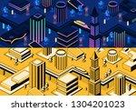 vector 3d isometric modern city ... | Shutterstock .eps vector #1304201023