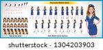 character model sheet with walk ... | Shutterstock .eps vector #1304203903