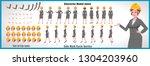 engineer girl character model... | Shutterstock .eps vector #1304203960