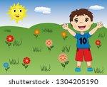 happy kid. summer. vector child | Shutterstock .eps vector #1304205190