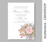pink rose  poinsettia wedding...   Shutterstock .eps vector #1304205229