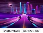 bikers racing on metropolis... | Shutterstock .eps vector #1304223439