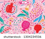 vector hand draw seamless... | Shutterstock .eps vector #1304234536