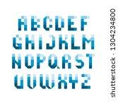 pixel font  geometric typefont  ... | Shutterstock .eps vector #1304234800