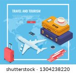 travel equipment in isometric... | Shutterstock .eps vector #1304238220