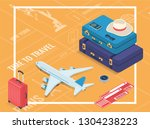 travel equipment in isometric... | Shutterstock .eps vector #1304238223