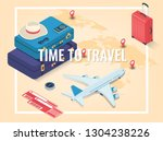 travel equipment in isometric... | Shutterstock .eps vector #1304238226