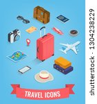 travel icons in isometric style.... | Shutterstock .eps vector #1304238229