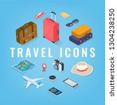 travel icons in isometric style.... | Shutterstock .eps vector #1304238250