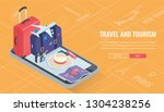 travel equipment in isometric... | Shutterstock .eps vector #1304238256