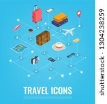 travel equipment in isometric... | Shutterstock .eps vector #1304238259