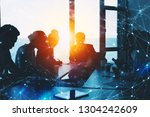 silhouette of business people... | Shutterstock . vector #1304242609