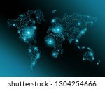 world map on a technological... | Shutterstock . vector #1304254666