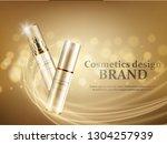 gold cosmetic bottles mockup on ... | Shutterstock .eps vector #1304257939
