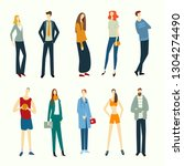 crowd of people isolated on...   Shutterstock .eps vector #1304274490