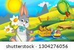 cartoon happy easter rabbit...   Shutterstock . vector #1304276056