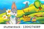 cartoon happy easter rabbit...   Shutterstock . vector #1304276089
