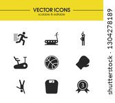 exercise icons set with bike...