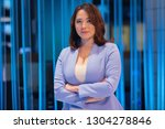 beautiful woman in a television ... | Shutterstock . vector #1304278846